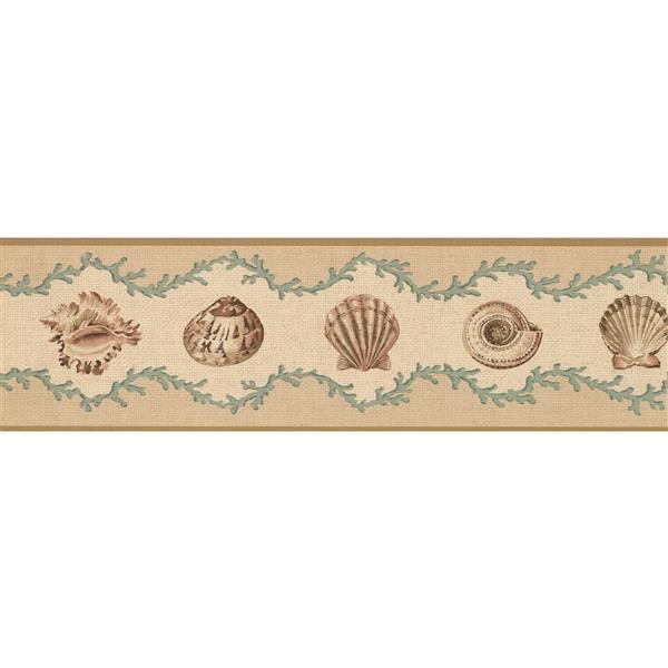 Retro Art Seashells Nautical Wallpaper Border - Beige/Green