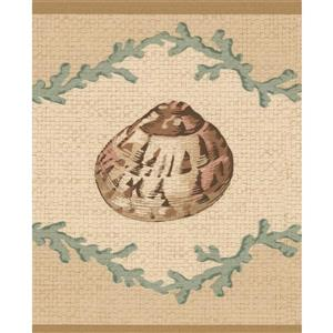 Retro Art Seashells Nautical Wallpaper Border - Beige/Green