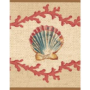 Retro Art Seashells Nautical Wallpaper Border - Beige