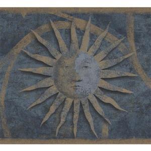 Retro Art Vintage Sun Damask Wallpaper Border - Beige/Blue
