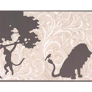 York Wallcoverings Abstract Animals and Damask Wallpaper Border - White/Brown