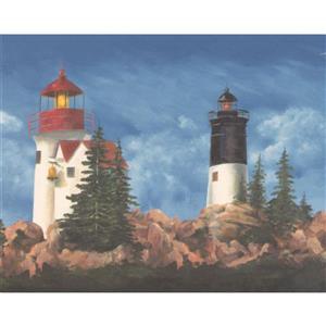 York Wallcoverings Lighthouses and Pine Trees Wallpaper Border - Blue