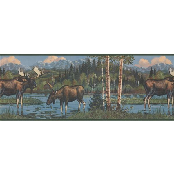 York Wallcoverings Retro Moose and Forest Wallpaper Border
