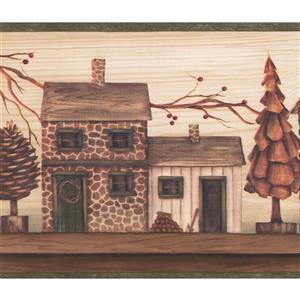 Chesapeake Cartoon Vintage Street Wallpaper Border - Brown/Beige