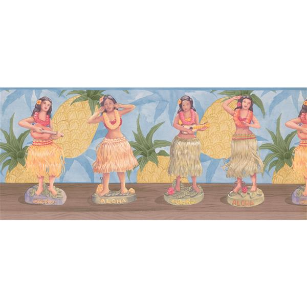Retro Art Aloha Hawaii Wallpaper Border - Yellow/Blue