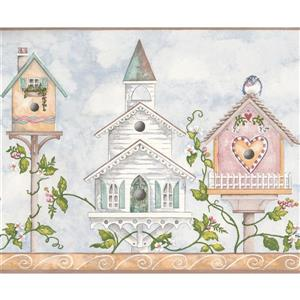 Colorful Birdhouses and Flowers Wallpaper - Blue/White