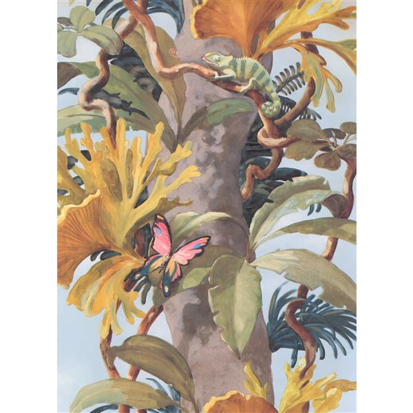 York Wallcoverings Jungle Tree and Butterfly Wallpaper - Brown