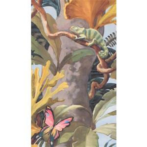 Jungle Tree and Butterfly Wallpaper - Brown
