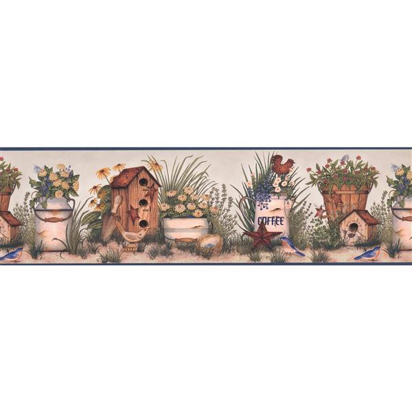 Chesapeake Birdhouses and Flower Pots Wallpaper - Blue/Beige