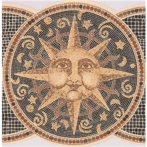 Retro Art Plates with Mosaic Sun, Moon and Stars - Yellow/Black