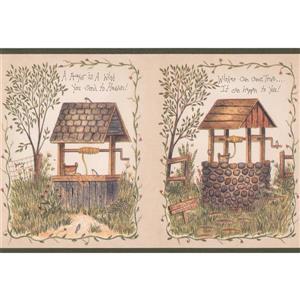 Brick and Wooden Water Wells Wallpaper - Green/Beige