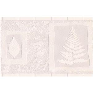 Retro Art Leaves in Squares Vintage Wallpaper Border - Coconut