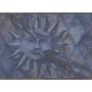 Retro Art Vintage Face on Sun Wallpaper Border - Grey/Blue