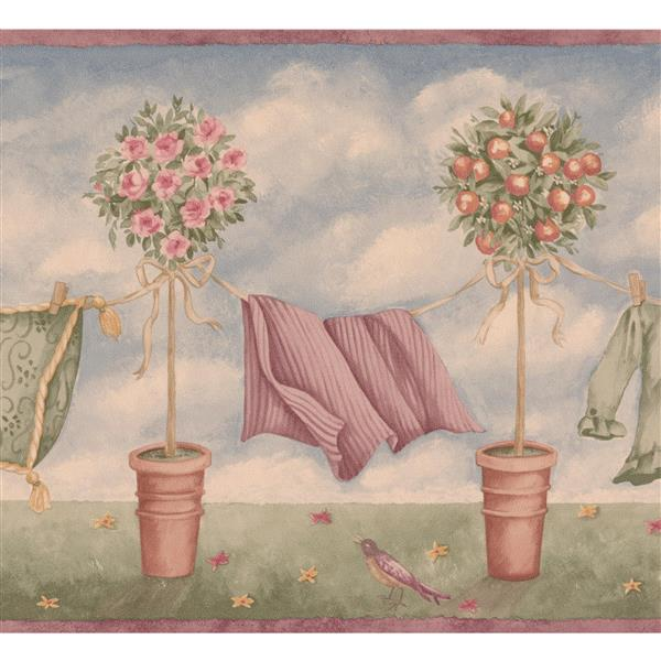 Retro Art Potted Fruit Trees with Clothes Line Wallpaper - Blue