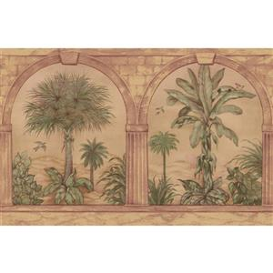 Retro Art Palm Trees through Arch Columns - Green
