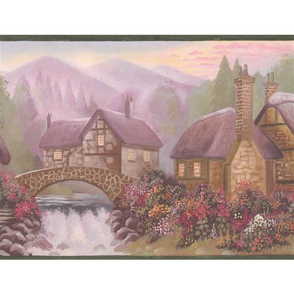 Retro Art Mountain Village Vintage Wallpaper