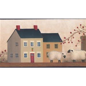 Chesapeake Vintage Village Wallpaper Border - Beige/Brown