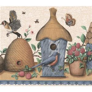 Retro Art Vintage Birdhouses and Nests -Brown/Blue