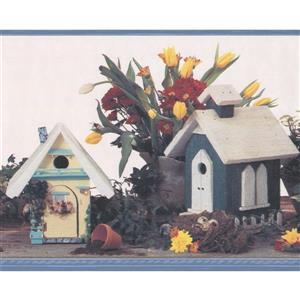 Retro Art Vintage Birdhouses Wallpaper Border