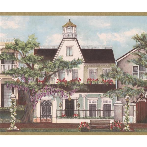 Retro Art Vintage Houses Wallpaper Border Roll