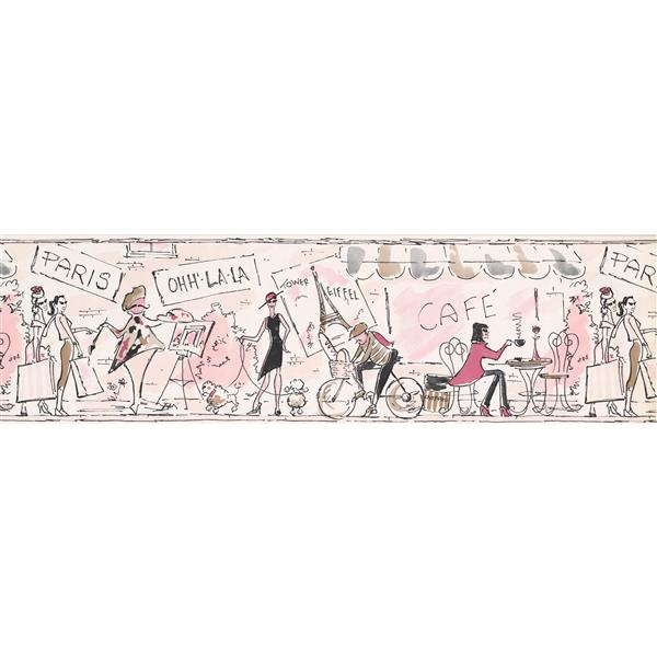 York Wallcoverings Vintage Paris Wallpaper Border - Coconut