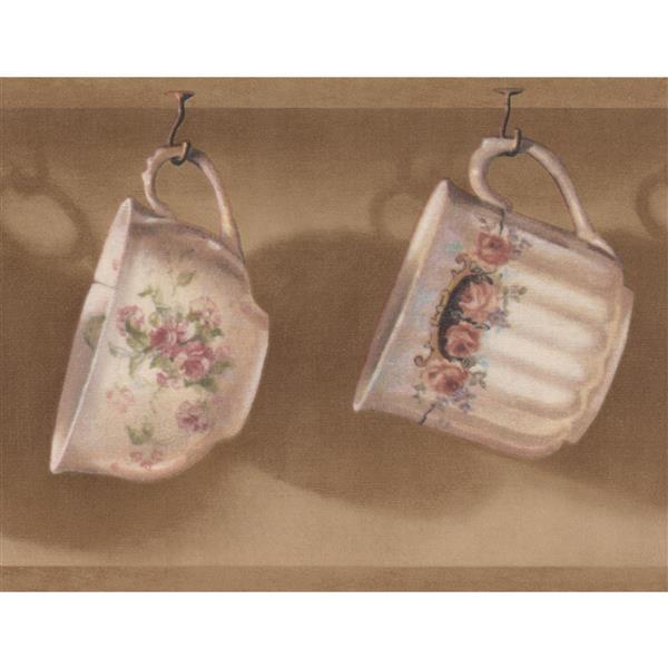 Retro Art Cups Hanging on Kitchen Hooks Wallpaper - Brown/White