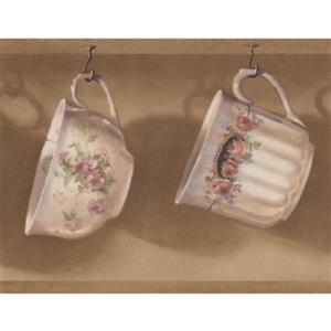 Retro Art Cups Hanging on Kitchen Hooks Wallpaper - Brown/White