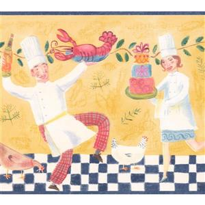 Retro Art Dancing Cooks Wallpapaper Border - Yellow