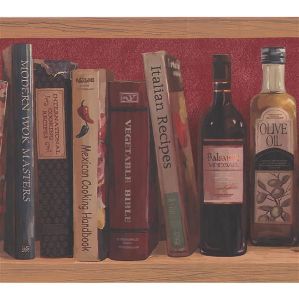 York Wallcoverings Wooden Shelf with Recipe Books Wallpaper