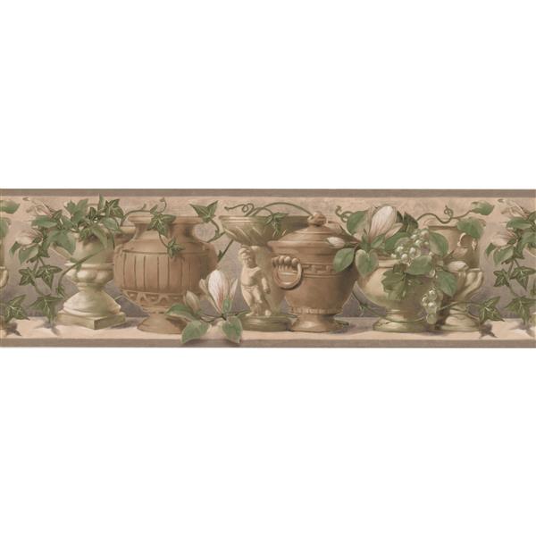 Retro Art Vases and Kitchen Shelf Vintage Wallpaper - Brown/Beige