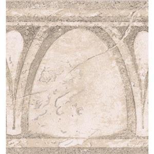 Abstract Semi Circles Vintage Wallpaper Border - Beige