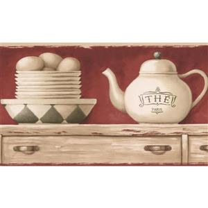 Retro Art Kitchen Tea Cups and Plates Wallpaper Border - White