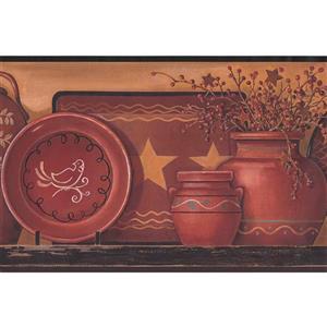 York Wallcoverings Kitchen Shelf with Plates Wallpaper  - Green/Beige