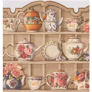 Retro Art Kitchen Cabinets with Plates Wallpaper - Beige