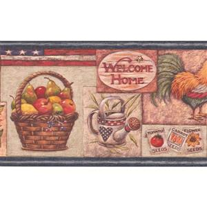 Retro Art Fruit Basket and Sunflower Wallpaper Border