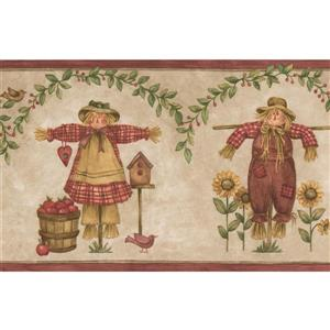 Scarecrows and Sunflowers Wallpaper Border - Beige