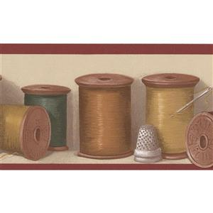 Norwall Spools of Thread Kitchen Wallpaper - Beige