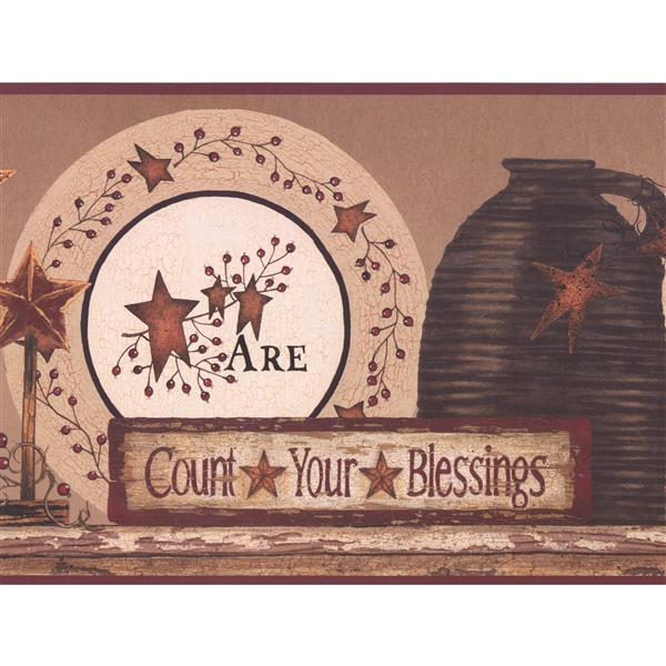 York Wallcoverings Count Your Blessings Wallpaper Border Purple
