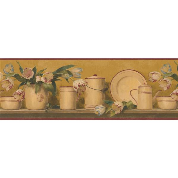 Retro Art Roses Kitchenware Wallpaper Border - Multicolour