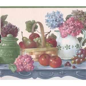 Retro Art Fruits and Berries in Baskets Wallpaper Border