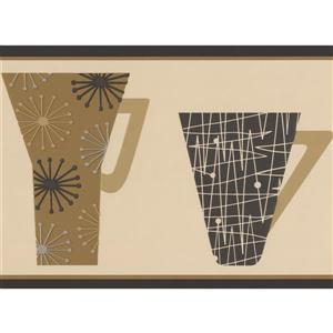 Retro Art Abstract Kitchen Cups Wallpaper Border - Beige