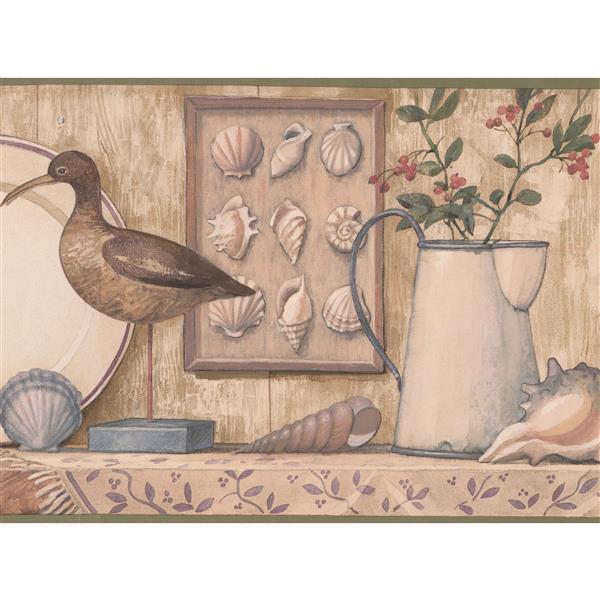 Retro Art Birds And Seashells Wallpaper Border Beige Rona