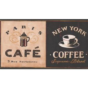 York Wallcoverings Vintage Coffee Places Wallpaper Border Roll