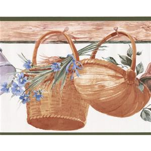 Retro Art Hanging Baskets Kitchen Wallpaper Border