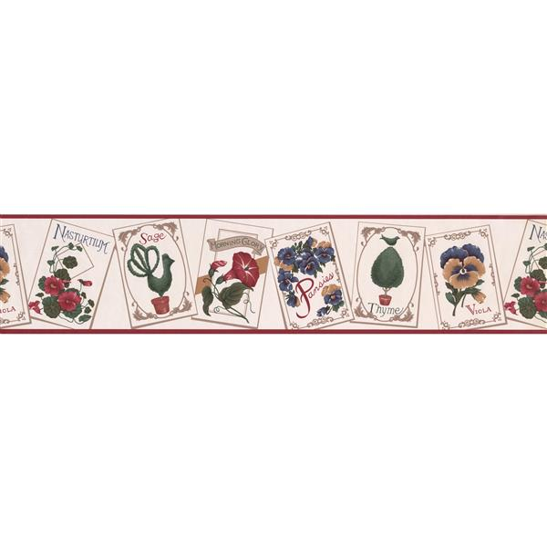 Retro Art Educational Floral Wallpaper Border - White