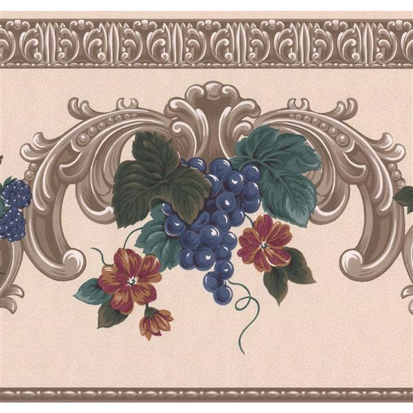 Retro Art Blooming Roses Traditional Wallpaper - Purple/Beige