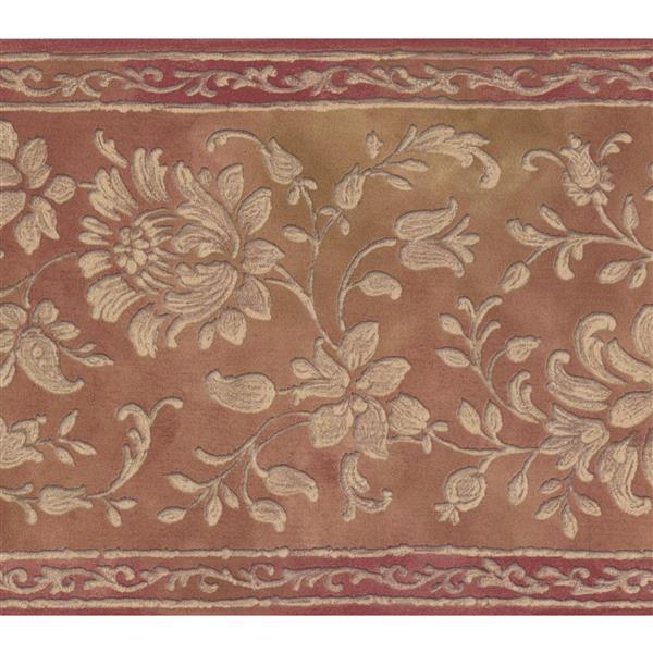 Retro Art Floral Pattern Damask Wallpaper Border - White/Brown