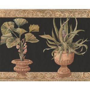 York Wallcoverings Green Plants in Pots Wallpaper Border - Black