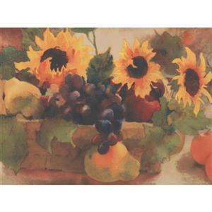 York Wallcoverings Sunflower and Fruit Basket Floral Vintage Wallpaper
