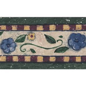 Norwall Floral Damask Wallpaper Border - Yellow/Blue